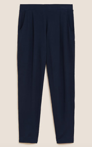 ex-M&S size 20 SHORT LENGTH NAVY SOFT TOUCH PULL ON TAPERED JOGGERS TROUSERS