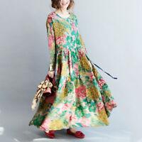 Womens Boho Ethnic Linen Cotton Long Swing Skirts Floral Caftan Loose Dress