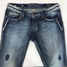 ReRock for Express Straight Denim Jeans Size 6 Distressed Patched Holes Faded