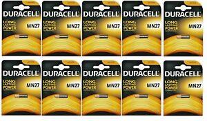 10 BATTERIE DURACELL MN27 12 V ALCALINA ANTUFURTO ALLARME TELECOMANDO PILE GLS
