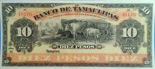 Mexico El Banco de Tamaulipas 10 pesos 1914 UNC Cows