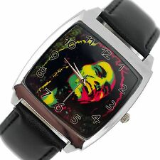 Neuf bob marley jamaïque reggae rasta soul cuir music legend square cd watch