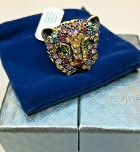 JTV New Gems en Vogue 4.06CTW Multi Color Sapphire Panther Ring Sz 9
