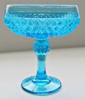 Tiara Indiana Glass Horizon Blue Diamond Point Compote Candy Dish Depression