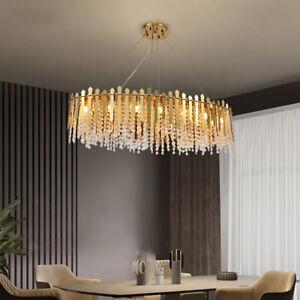 Modern Luxury Long Gold Crystal Metal Chandelier Pendant Light Decor Lamp 95cm