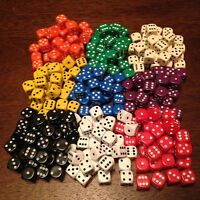 1000 x 12mm Bulk Opaque Six Sided Spot Dice Games D6 10 Colours D&D RPG