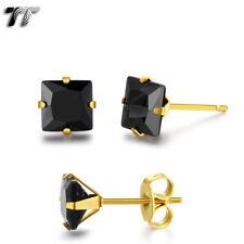 TT 14K Gold GP Stainless Steel Black CZ Square Stud Earrings 3mm-8mm (ES05D) NEW