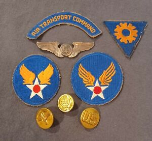 WWII US Army Air Corps Grouping Tab Patch Wings Collar Insignia Air Crew WW2