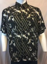 NATURAL ISSUE BLACK WHITE AND BEIGE HAWAIIAN SHIRT ABSTRACT PALM LEAVES SIZE XL