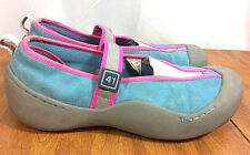 J-4 Women's Hot Pink Blue Suede Leather Mary Janes Shoes Gray Rubber Sole US 8M