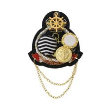 Sexy Sparkles 1 Pc Retro Badge Brooch Shield Anchor Black with Metal Chain Butto