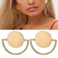 FJ- DR7 Party Women Big Circle Stud Earrings Fashion Ear Jewelry Cocktail Charm