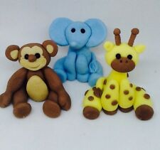 Edible 3 Pack Giraffe, Elephant, Monkey Jungle, Birthday Cake Toppers