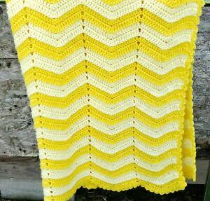 "Crochet Lap/Baby Blanket Sunshine Yellow Chevron/Zig Zag Afghan Throw 42"" × 44"""