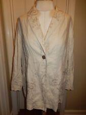 J. JILL Natural Tan Floral Embroidered 100% Linen Unlined Blazer Jacket Tag 3X