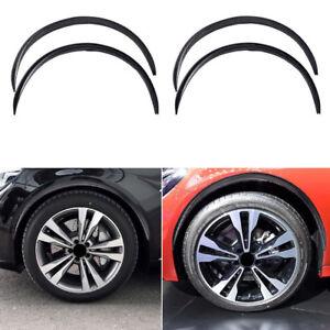 4*Black Carbon Fiber Car Wheel Eyebrow Arch Trim Lips Fender Flares Protector