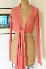 Rick Owens Peach Cotton Knit LS Tie Front Cropped Cardigan Sweater SZ 4