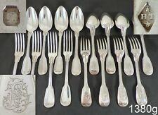 Gorgeous Antique French Silver Louis XV Style 16 piece Ménagère or Flatware Set