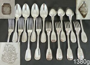 Gorgeous Antique French Silver Louis XV Style 16 piece Ménagère or Flatware Set