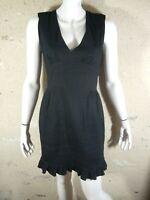 SANDRO Taille 3 - 40 Superbe robe doublée noire en lin mélangé black dress