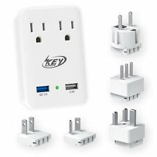 2000W International Travel Adapter With Features Quick Charge 3.0 USB & 2-Outlet