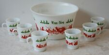 Vtg Hazel Atlas EggNog Punch Bowl & 6 Mugs Christmas Red Green Winter Milk Glass