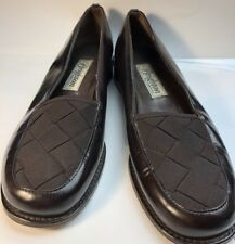 Brighton Ladies Shoes Brown Leather / Nylon Size 7 1/2 N Loafer