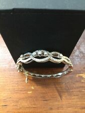 Antique Vintage Pave Diamond 14k White Gold Bangle Bracelet Estate Find