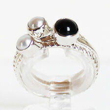 100% 925 Solid Sterling Silver Set of 3 Stacking Rings - Size 9 - Agate & Pearl