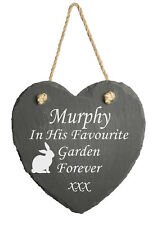 Pet Memorial Personalised Engraved Natural Slate Heart    Rememberance Rabbit