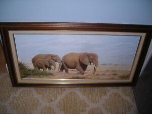 Framed painting portrait of elephants in wild signed UK artist  A J Payne 92