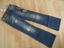 Desigual megacoole hippie jeans flared used destroyed campana talla 34 o. 36 nuevo