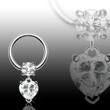 Jewelled Captive Bead Ring Cbr With Clear Gem Dangle Heart