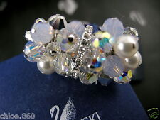 Signed Swarovski Opalite Crystal Pearl Ring Med 55 New In Box Rare Collector !