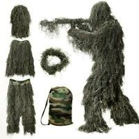 5 in 1 Ghillie Suit 3D Camouflage Hunting Apparel Woodland Desert Jungle Hunting
