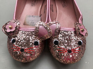 Spot On GIRLS PINK GLITTER CUTE CAT FACE PARTY FLAT SHOES UK SIZE 1