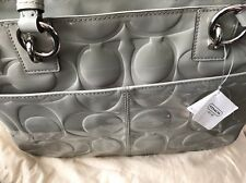 Never Been Used New Grey Patent Leather Coach Handbag