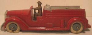 Old 1937 Tootsietoy Metal Fire Truck Insurance Patrol w/ Driver