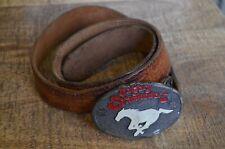 Vintage Calgary Stampeders CFL Football Belt Buckle on Tooled Leather Belt