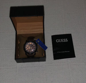 Guess Mens Waterpro Watch Chronograph Leather 100m U16002G1 Excellent Condition