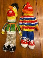 Crochet BURT ERNIE  FOLKART SESAME STREET HANDMADE KNIT PLUSH STUFFED