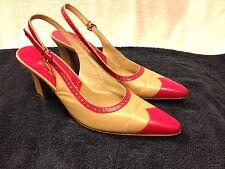 Salvatore Ferragamo womens pink brown heels size 7.5 B Good shape!