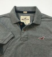 Hollister Men's Stretch Muscle Fit Short Sleeve Polo Shirt Gray Heather S Small
