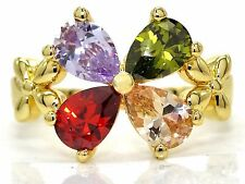 Gold plated garden flower ring different colored pear gemstones black gift box