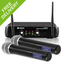 SkyTec 2 Channel Radio Handheld Wireless Vocal PA Microphone UHF System Mics