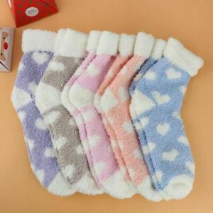 Winter 5 Pairs Ladies Heart Warm Cosy Soft Indoor mid Calf Fluffy Bed Socks