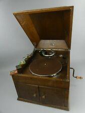 """Gramophone Phonographe """" La Voix De Son Maître """" Coffre En Chêne + Aiguilles"""