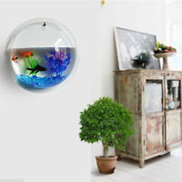 10*10cm Acrylic Wall Mount Fish Bowl Aquarium Tank Beta Goldfish Hanger Plant US