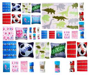 Kids Printed Throws Soft Fleece Sofa Bed Blanket Cushion Covers Football Owl Rug