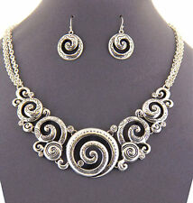 Designer Bright Shiny Silver Engraved Swirls & Crystals Necklace Earring Set